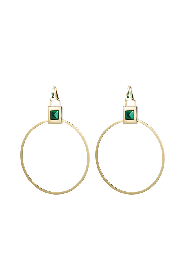Brass Gold Plate Malachite Gemstone Padlock Hoops