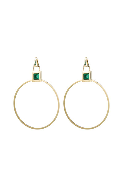 Eddie Borgo - Brass Gold Plate Malachite Gemstone Padlock Hoops