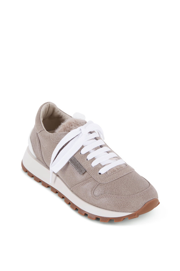 Brunello Cucinelli Light Gray Shearling Tongue Sneaker