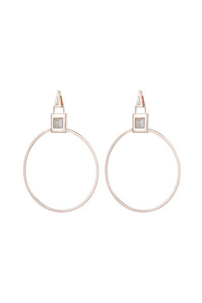 Eddie Borgo - Rose Gold Gemstone Padlock Hoop Earrings