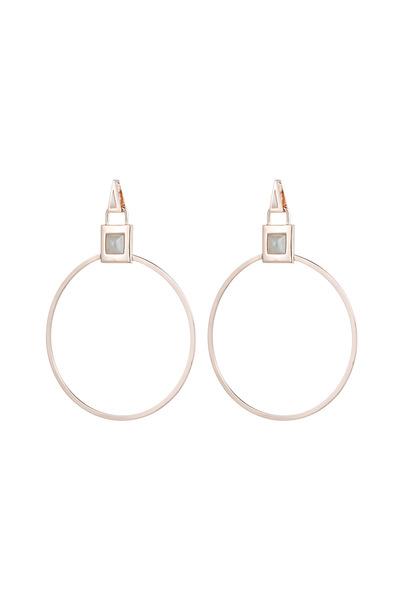 Eddie Borgo - Rose Gold Gemstone Padlock Hoop Earrings