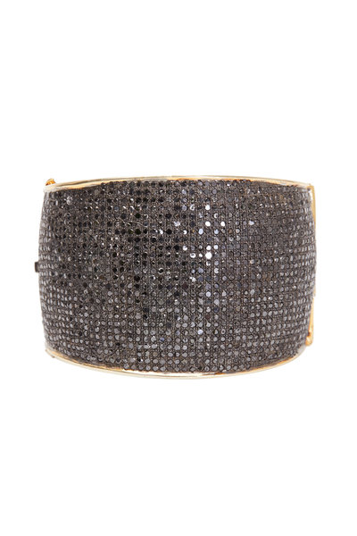 Loren Jewels - Gold & Silver Pavé-Set Black Diamond Cuff Bracelet