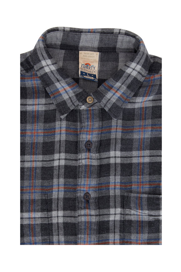 Faherty Brand Gray West Bend Plaid Reversible Shirt