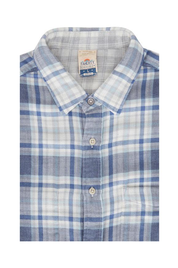 Faherty Brand Blue Easton Plaid Reversible Shirt