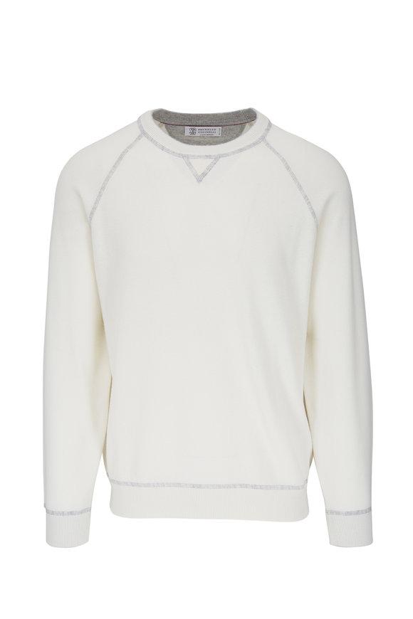 Brunello Cucinelli White Raglan Sleeve Pullover