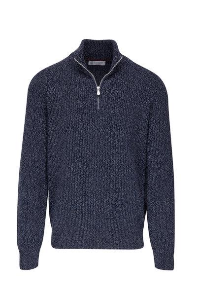 Brunello Cucinelli - Blue Mélange Ribbed Cashmere Quarter-Zip Pullover