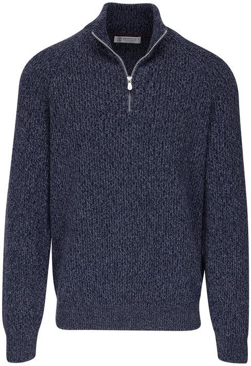 Brunello Cucinelli Blue Mélange Ribbed Cashmere Quarter-Zip Pullover