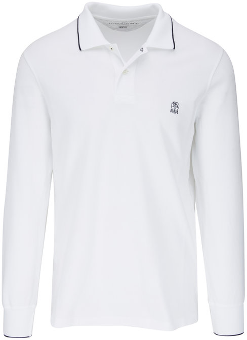 Brunello Cucinelli White Long Sleeve Slim Fit Polo