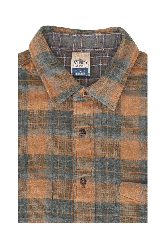 Faherty Brand Tan & Green Elmwood Plaid Reversible Shirt