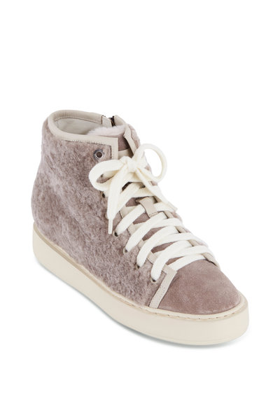 Santoni - Brown Shearling High-Top Sneaker