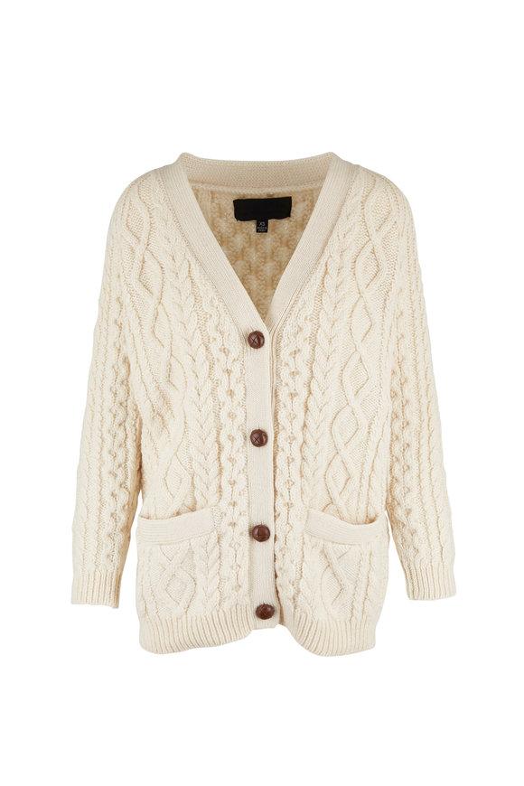 Nili Lotan Orion Ivory Wool Cardigan