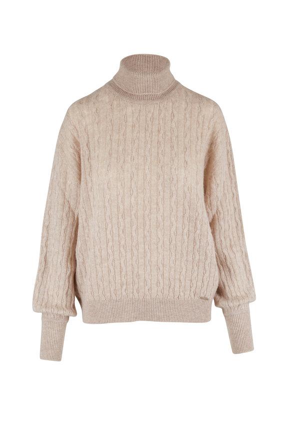 Kiton Natural Cashmere & Silk Cable Knit Turtleneck