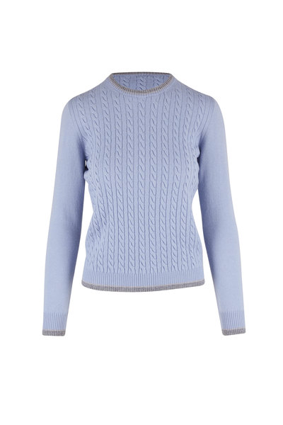 D.Exterior - Sky Blue & Granite Cable Knit Sweater