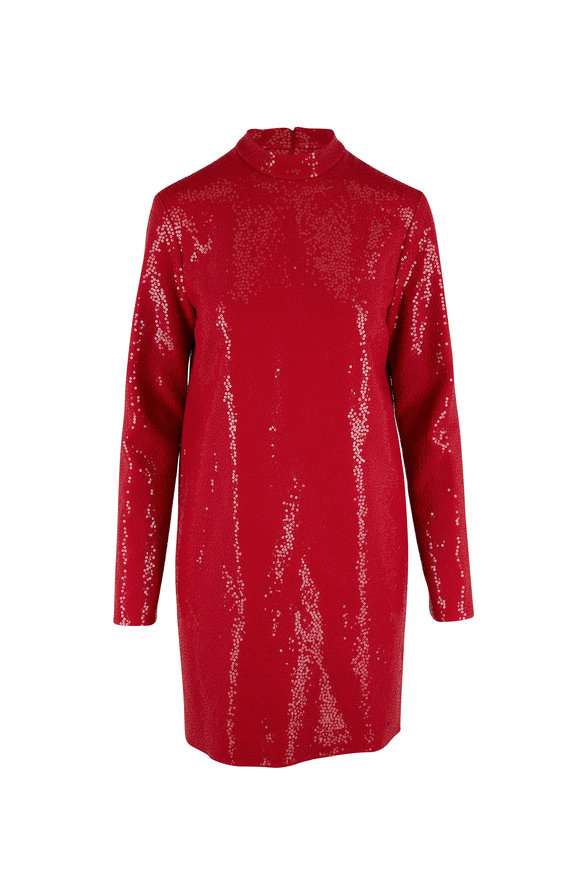 Michael Kors Collection Scarlet Embroidered Long Sleeve Shift Dress
