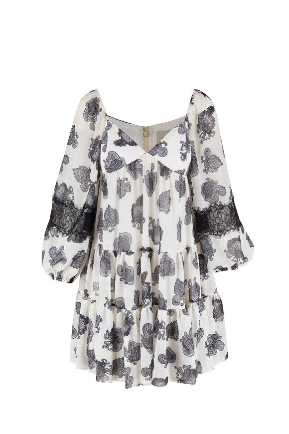 Sachin + Babi Liam Black & White Lace Inset Sleeve Dress