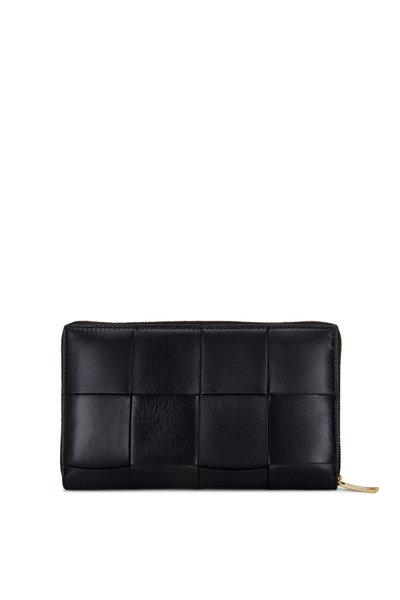 Bottega Veneta - Bonbon Black Wide Woven Leather Zip Wallet