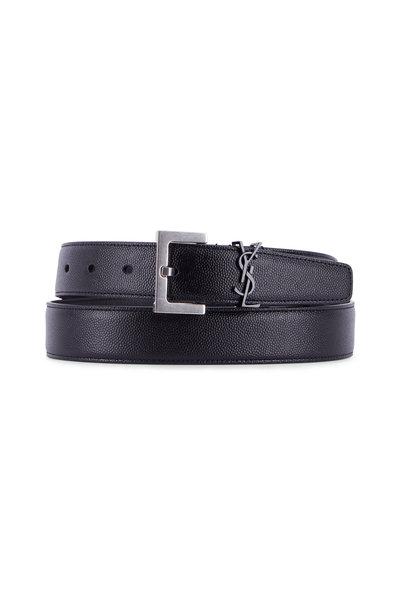 Saint Laurent - Black Leather Square Buckle Logo Belt