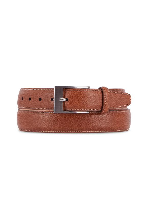 Martin Dingman Delaney Almond Leather Interchangeable Buckle Belt