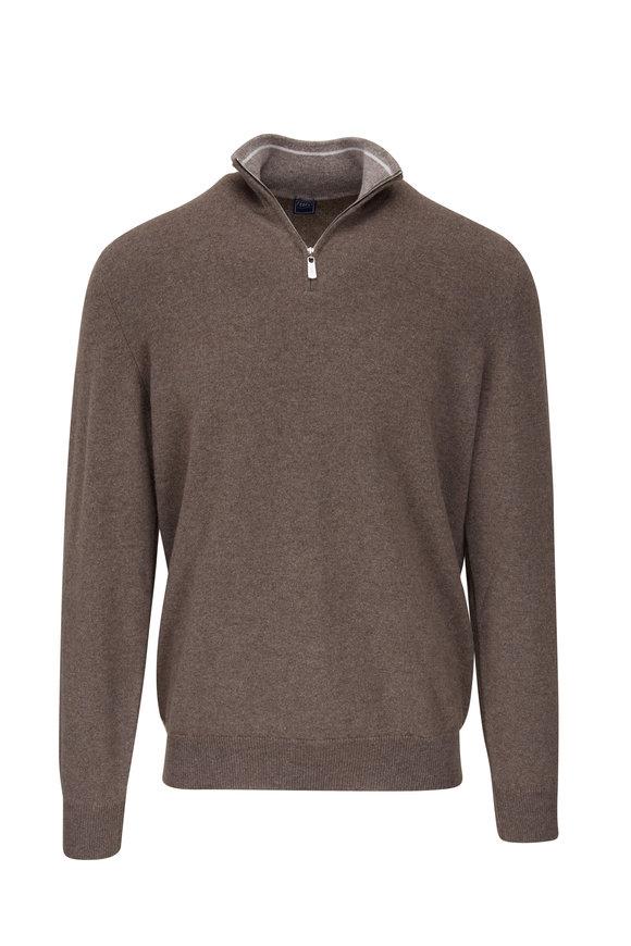 Fedeli Favoni Light Brown Cashmere Quarter-Zip Sweater