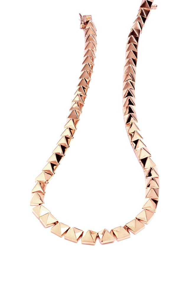 Brass Rose Gold Plate Pyramid Necklace