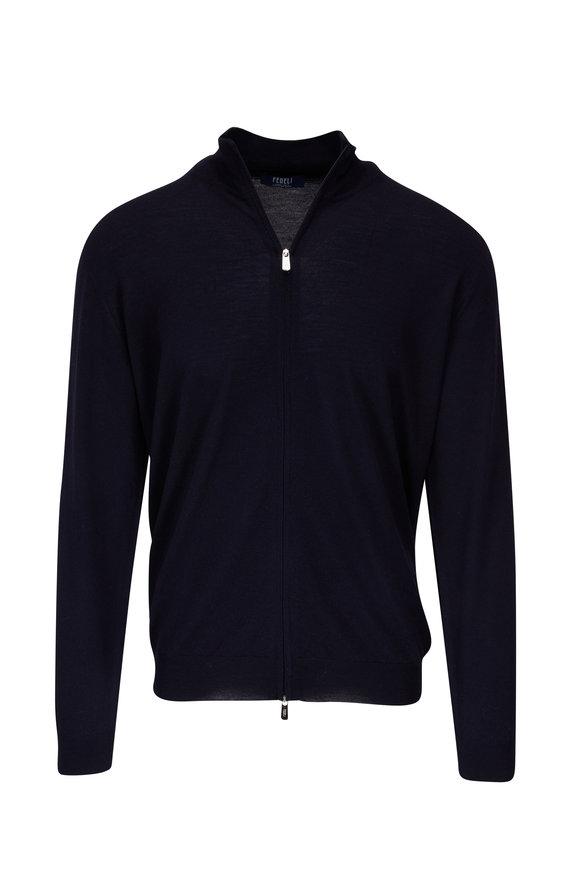 Fedeli Navy Wool Lightweight Front Zip Cardigan