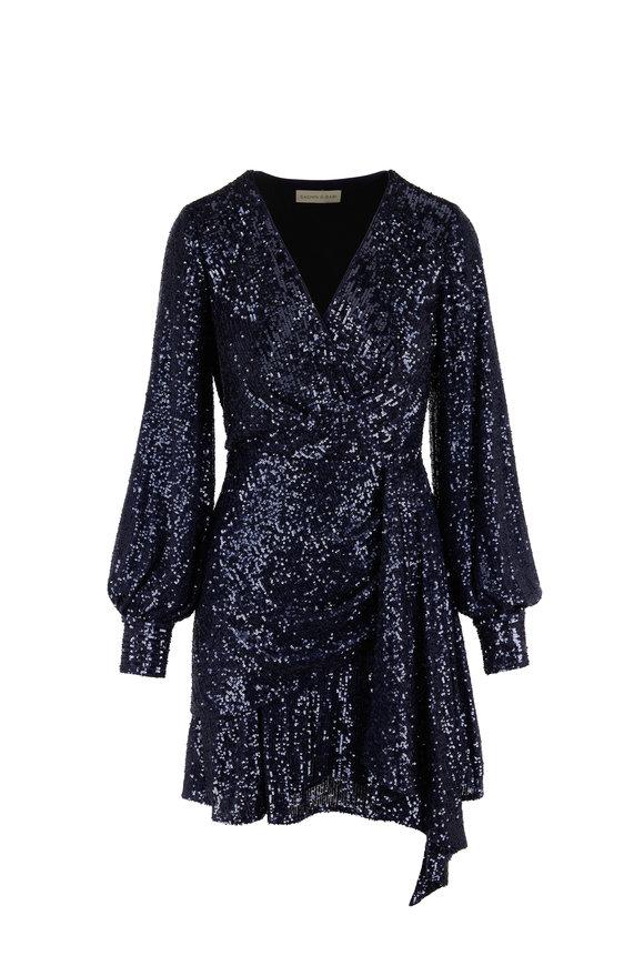 Sachin + Babi Delaney Navy Blue Sequin Long Sleeve Dress
