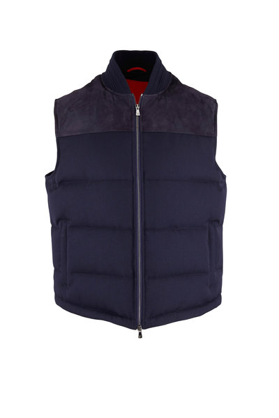 Isaia - Navy Techno Wool Quilted Vest