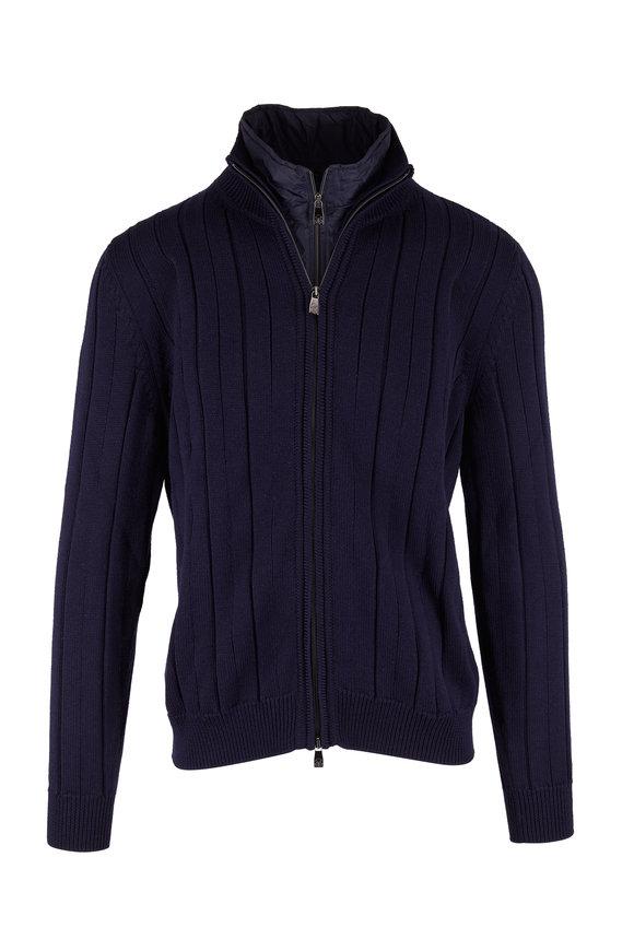 Corneliani Navy Ribbed Wool Dickey Sweater