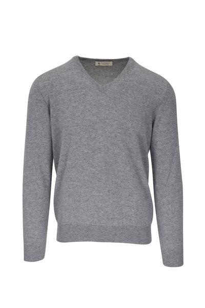 Fratelli Piacenza - Light Gray Cashmere V-Neck Sweater