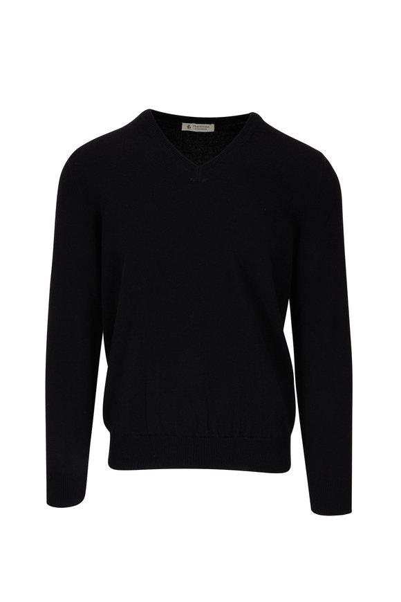 Fratelli Piacenza Black Cashmere V-Neck Sweater