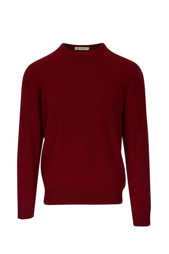 Fratelli Piacenza Burgundy Cashmere Crewneck Sweater