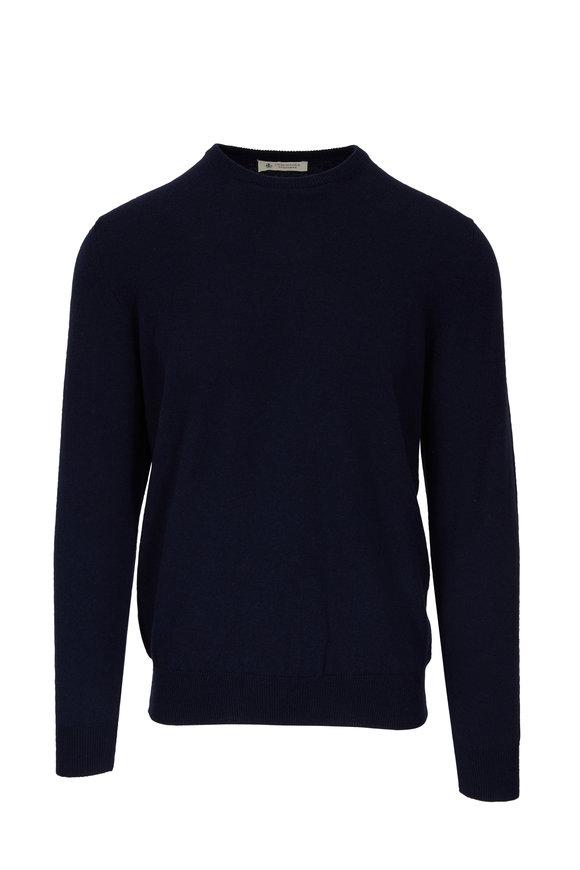 Fratelli Piacenza Navy Cashmere Crewneck Sweater