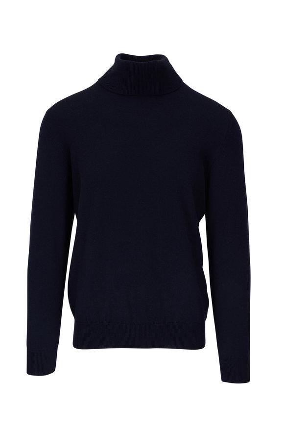Fratelli Piacenza Navy Cashmere Turtleneck Sweater