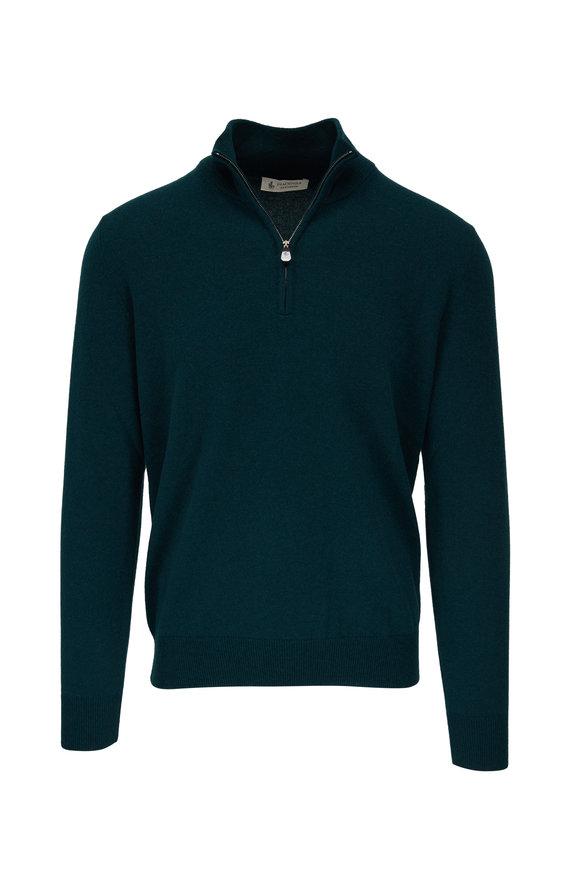 Fratelli Piacenza Green Cashmere Quarter-Zip Sweater