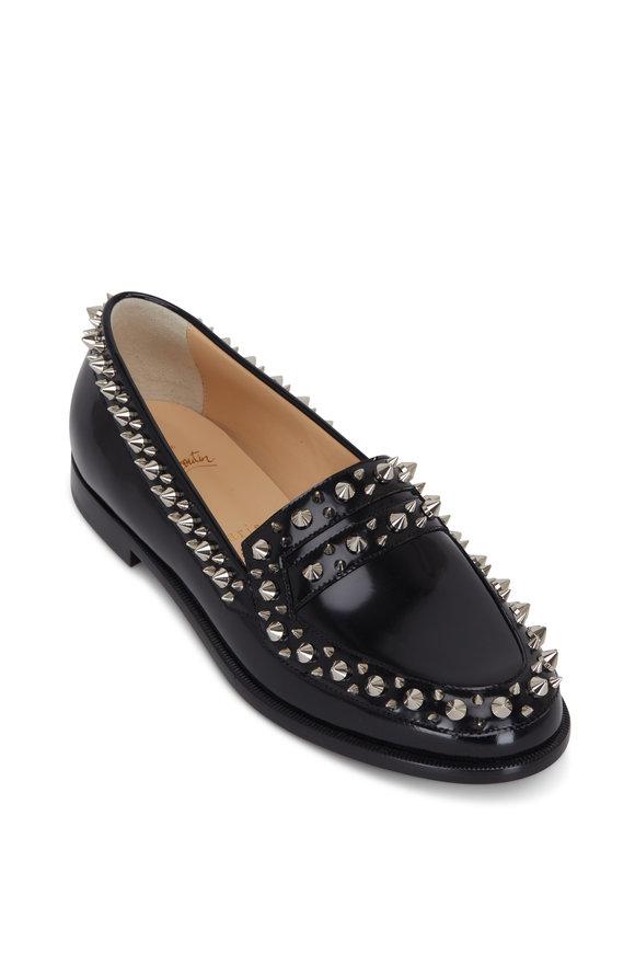 Christian Louboutin Mattia Spikes Black Patent Spiked Flat Loafer