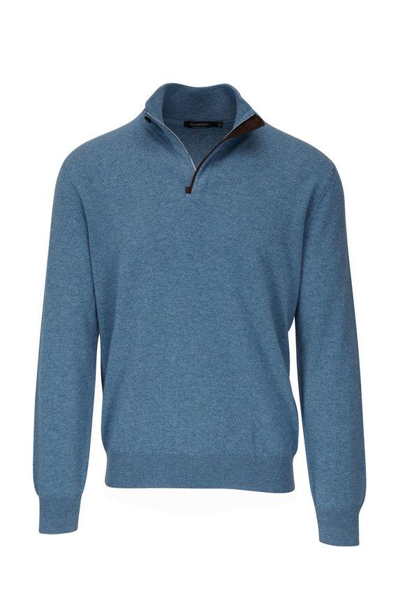 Ermenegildo Zegna Light Blue Cashmere Quarter-Zip