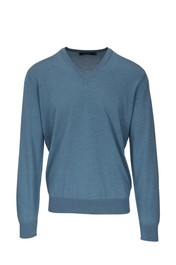 Ermenegildo Zegna Light Blue Cashmere & Silk V-Neck Pullover