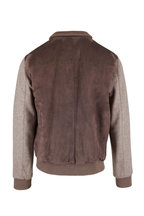 Mandelli - Taupe Suede & Jersey Sleeve Bomber