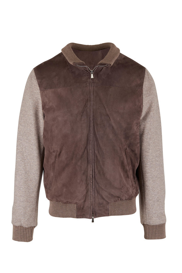 Mandelli Taupe Suede & Jersey Sleeve Bomber