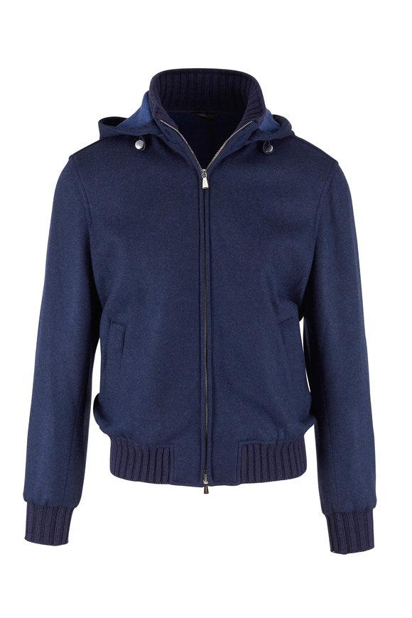 Mandelli Navy Cashmere Hooded Jacket