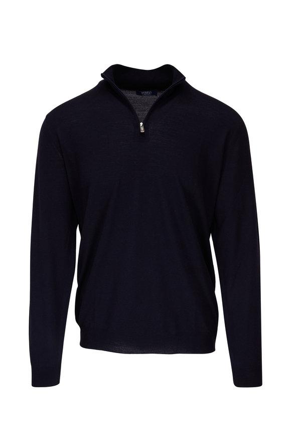 Fedeli Navy 140's Wool Quarter-Zip Pullover