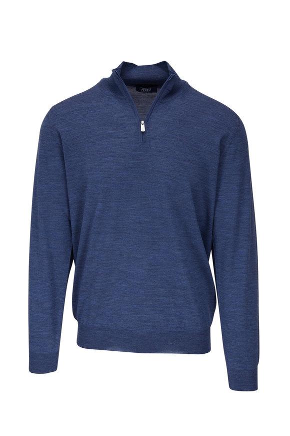 Fedeli Denim 140's Wool Quarter-Zip Pullover