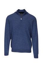 Fedeli - Denim 140's Wool Quarter-Zip Pullover
