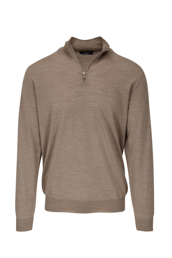 Fedeli Taupe 140's Wool Quarter-Zip Pullover