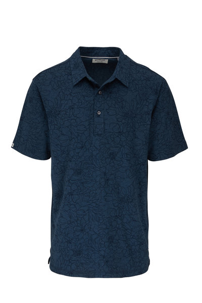 Linksoul - Anza Ink Heather Floral Print Short Sleeve Polo