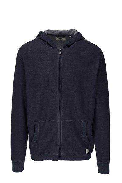 Linksoul - Navy Double Knit Front Zip Hoodie