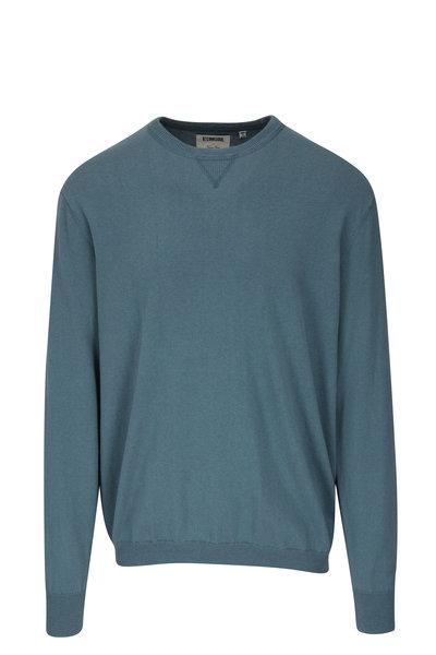 Linksoul - Storm Blue Cotton & Cashmere Crewneck Sweatshirt