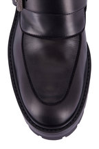 Aquazzura - Ryan Black Leather & Shearling Trim Boot