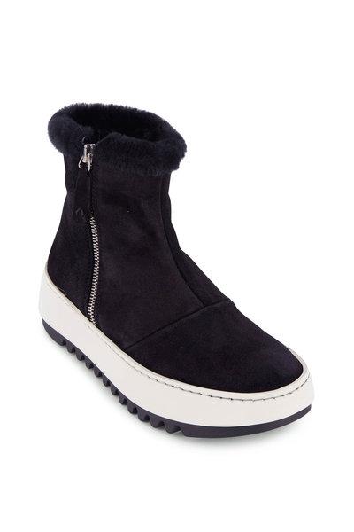 Aquatalia - Alison Black Suede Shearling Trim Sneaker Boot