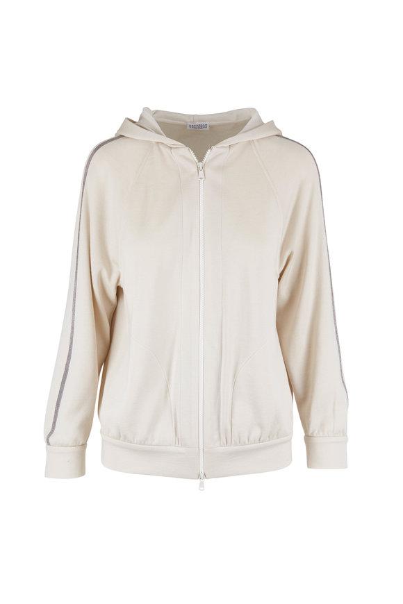 Brunello Cucinelli Ivory Cotton & Silk Spa Zip Hoodie